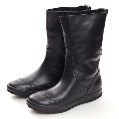 G.Ms. 魔女騎士-素面銅扣牛皮平底中筒靴-黑色
