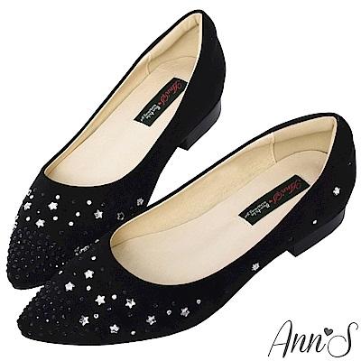 Ann'S星星糖-漸層小水鑽沙發後跟尖頭平底鞋-黑