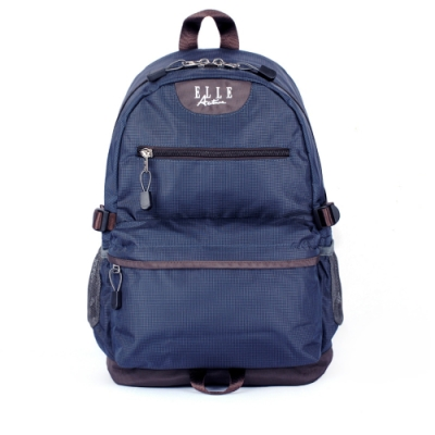 ELLE Active 格紋系列-後背包-中-深藍色