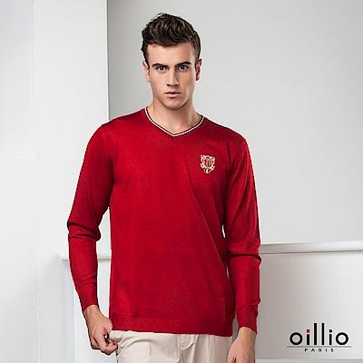 歐洲貴族oillio 長袖線衫 貴族電繡 紳士V領 紅色