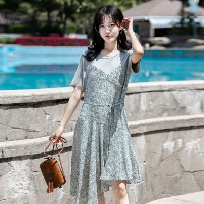 IMStyle 時尚葉邊拼接假兩件不規則連身裙【正品】