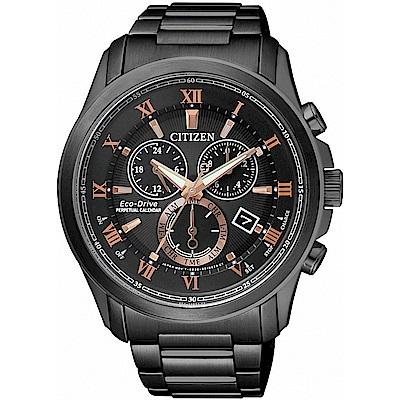 CITIZEN星辰 光動能 萬年曆計時腕錶(BL5545-50E)-黑x玫金/43mm