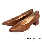 Tino Bellini義大利進口方形鞋口4cm粗跟鞋_棕