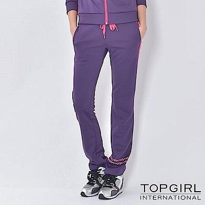 【TOP GIRL】撞色拼接針織印花休閒長褲-魅力紫