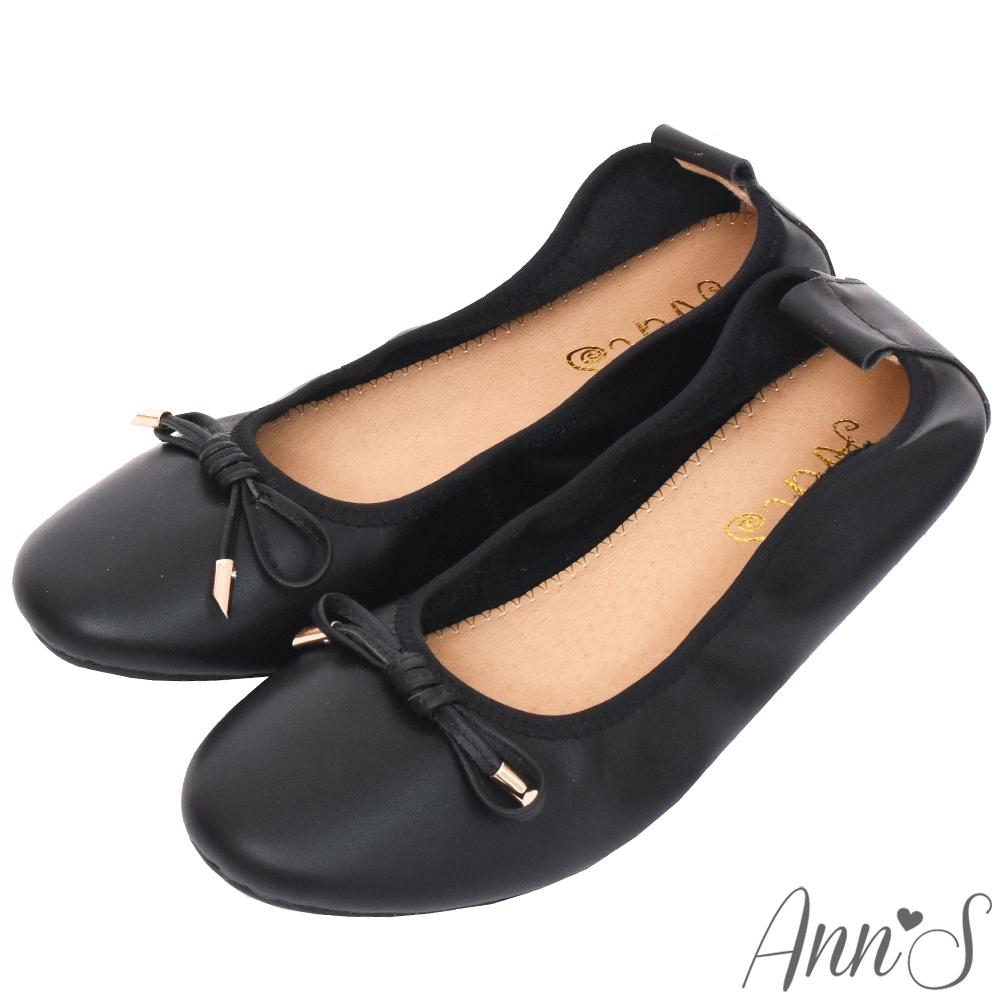 Ann'S柔軟夢境-金墜蝴蝶結全真皮平底娃娃鞋-黑