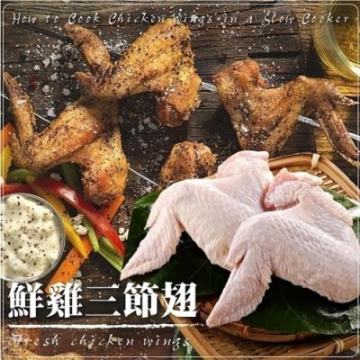 【海陸管家】嚴選鮮雞三節翅15支組(每包5支/約400g)