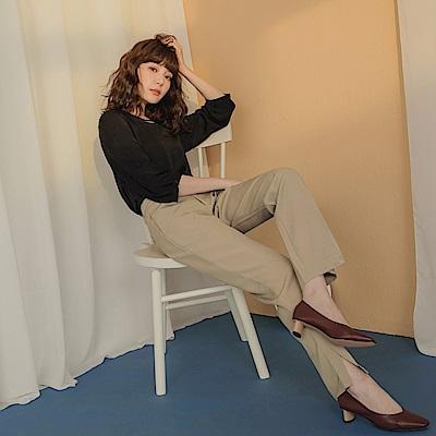 純色簡約褲腳側開衩西裝直筒長褲-OB大尺碼