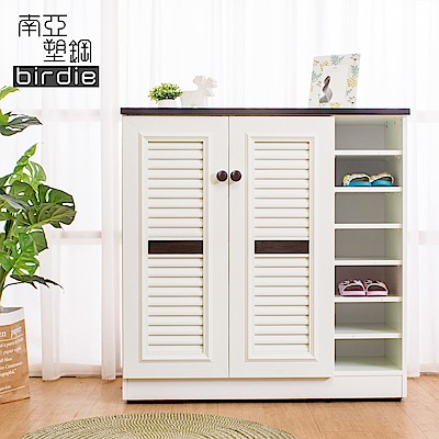 Birdie南亞塑鋼-3.3尺二門右開放塑鋼百葉鞋櫃-胡桃色+白色-98x37x100cm