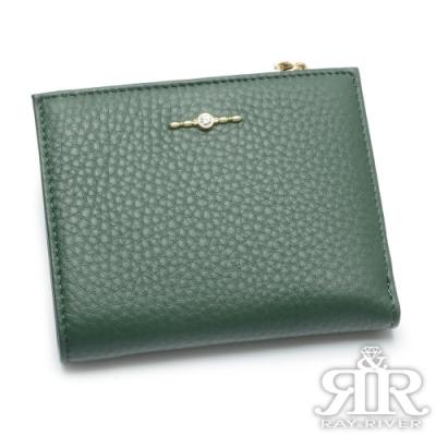2R 頭層牛皮Shining綴飾手感短夾 橄欖綠