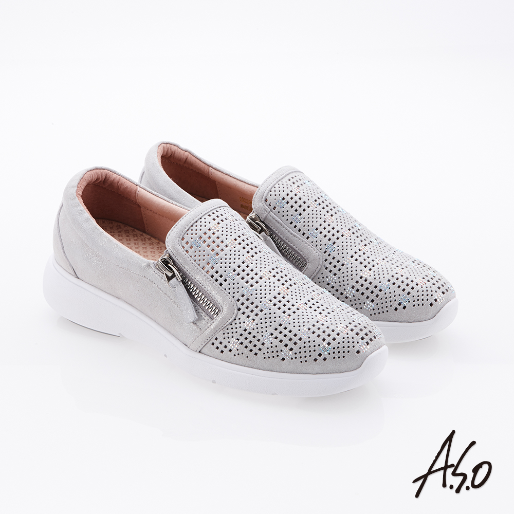 A.S.O Q彈紓壓 真皮絨面拉鍊奈米休閒鞋 銀