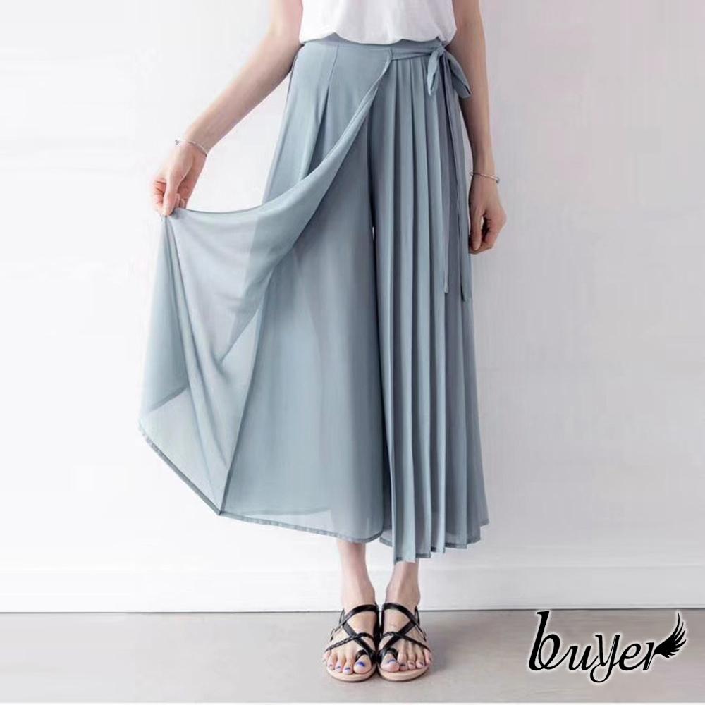 【白鵝buyer】夢幻 雪紡綁帶百褶褲裙(灰藍)