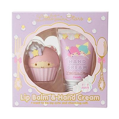 Sanrio 雙星仙子甜點系香氛保濕造型護唇膏&護手霜禮盒組(蜜桃香)