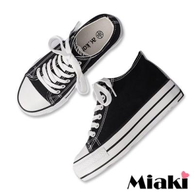 Miaki-帆布鞋韓版復刻厚底休閒鞋-黑