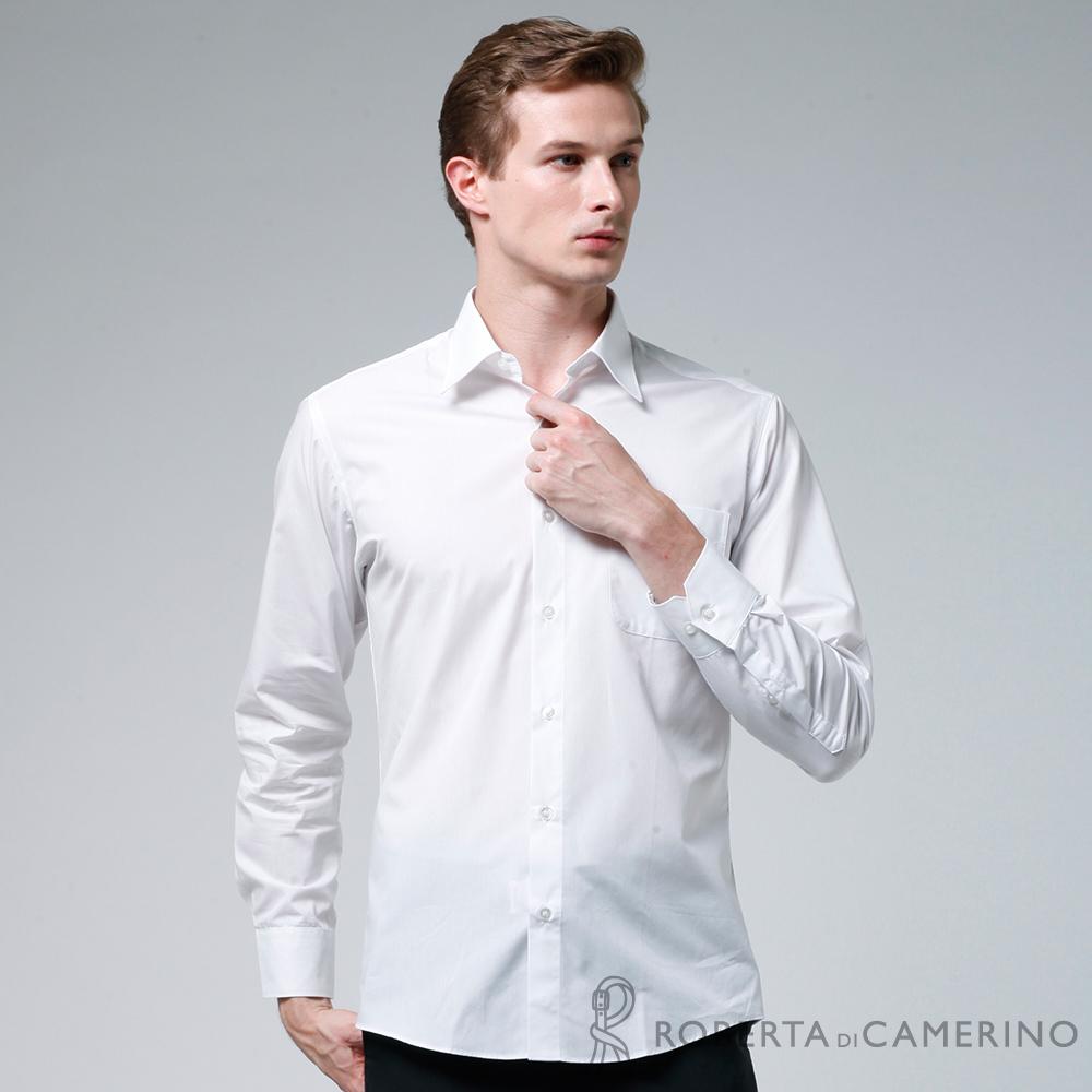 ROBERTA諾貝達 台灣製 型男合身版 經典百搭長袖襯衫 白色
