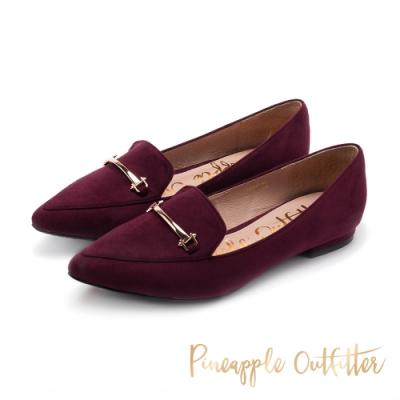 Pineapple Outfitter-FATIMA馬銜扣絨面樂福鞋-特殊紋酒紅色