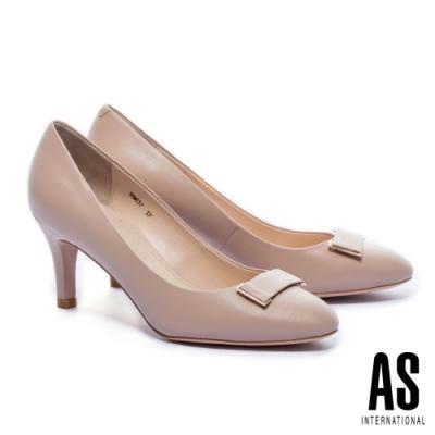 高跟鞋 AS 質感百搭金屬帶釦羊皮尖頭高跟鞋-粉