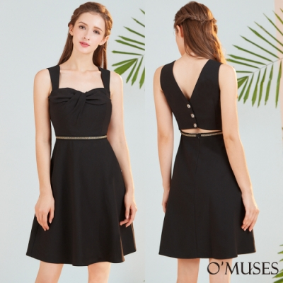 OMUSES 美背細鑽腰鍊A-Line洋裝