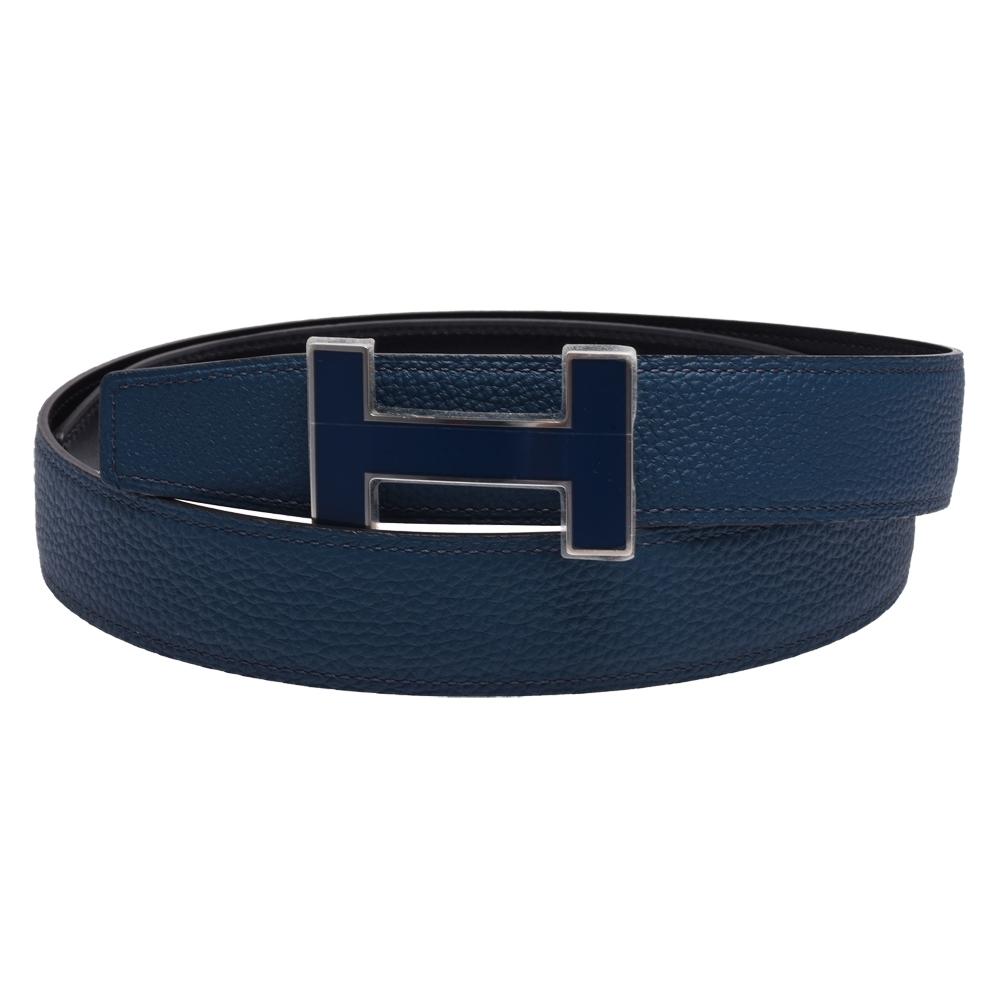 HERMES 經典H LOGO雙面兩穿小牛皮腰帶/皮帶(32MM-藍/黑X藍)