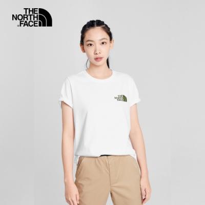 The North Face北面男女款白色露營帳篷印花圓領短袖T恤 5B3DFN4
