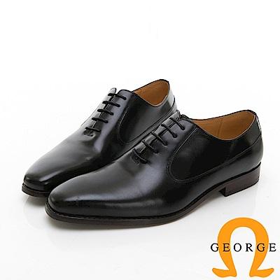 【Amber】商務時尚 素面綁帶紳士皮鞋-黑色