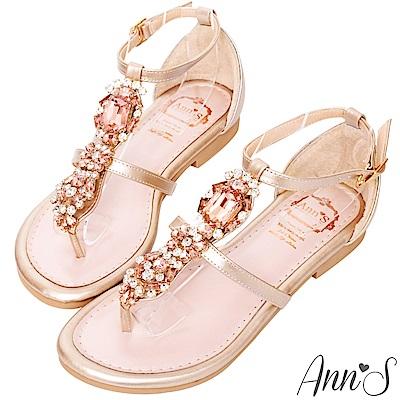Ann'S招桃花寶石華麗工字夾腳平底涼鞋