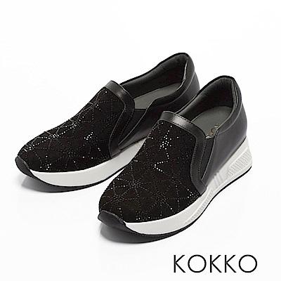 KOKKO - 時尚璀璨雪花內增高真皮休閒鞋-經典黑