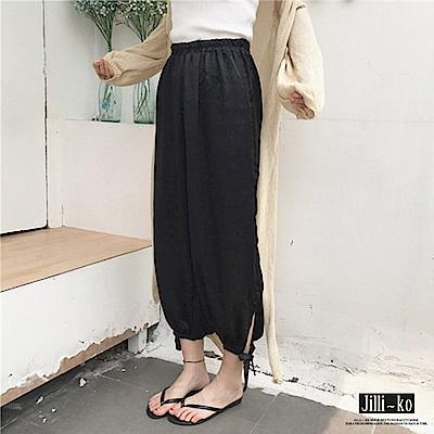 Jilli-ko 薄款寬鬆綁帶燈籠褲- 黑