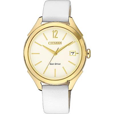 CITIZEN 星辰 光動能都會女錶-金框x白/33.5mm(FE6148-10A)