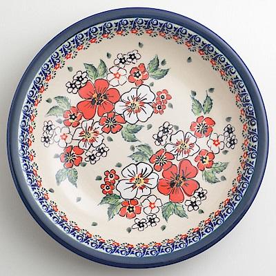 【波蘭陶 Zaklady】 紅白彩卉系列 圓形深餐盤 22cm 波蘭手工製