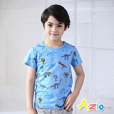 Azio Kids 上衣  恐龍仙人掌椰樹印花短袖上衣(藍)
