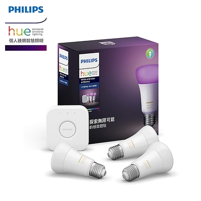 PHILIPS 飛利浦照明 Hue 全彩情境 入門套件組 A60燈泡+橋接器 (PH002)