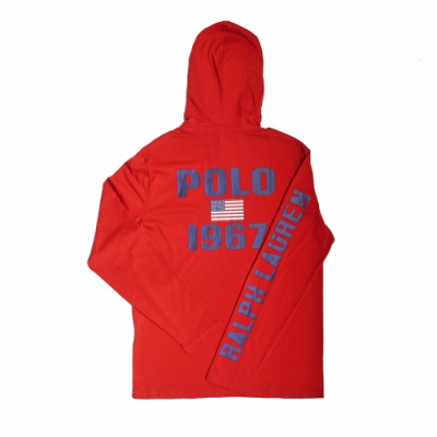 Polo Ralph Lauren 經典刺繡大馬背後印刷棉質薄款連帽T恤-紅色