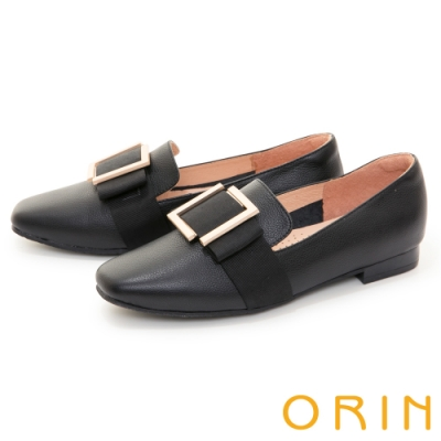 ORIN 真皮方釦樂福 女 平底鞋 黑色