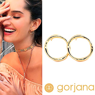 GORJANA 金色立體小圓耳環 厚版簍空設計 鑲 18 K金 Quinn