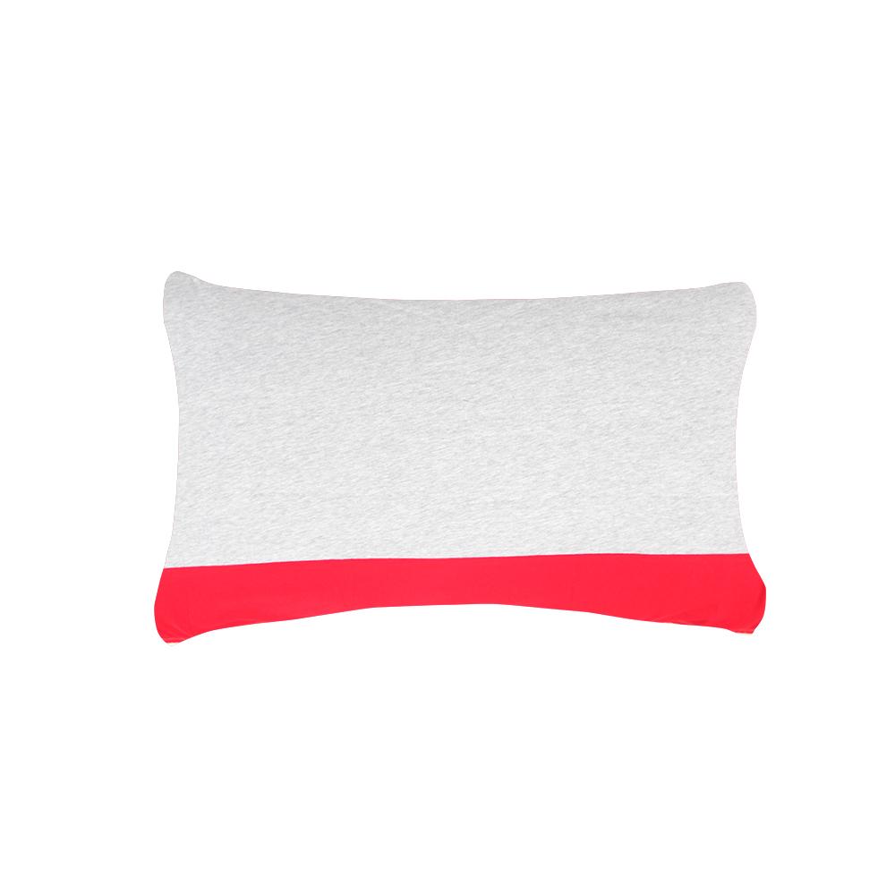YVONNE COLLECTION 素面拼接枕套-淺灰/紅 (可搭配馬丘比丘床組)