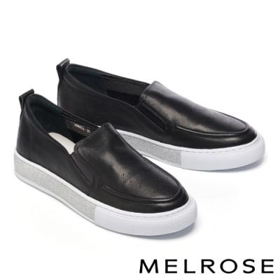 休閒鞋 MELROSE 時尚百搭金蔥邊全真皮厚底休閒鞋-黑