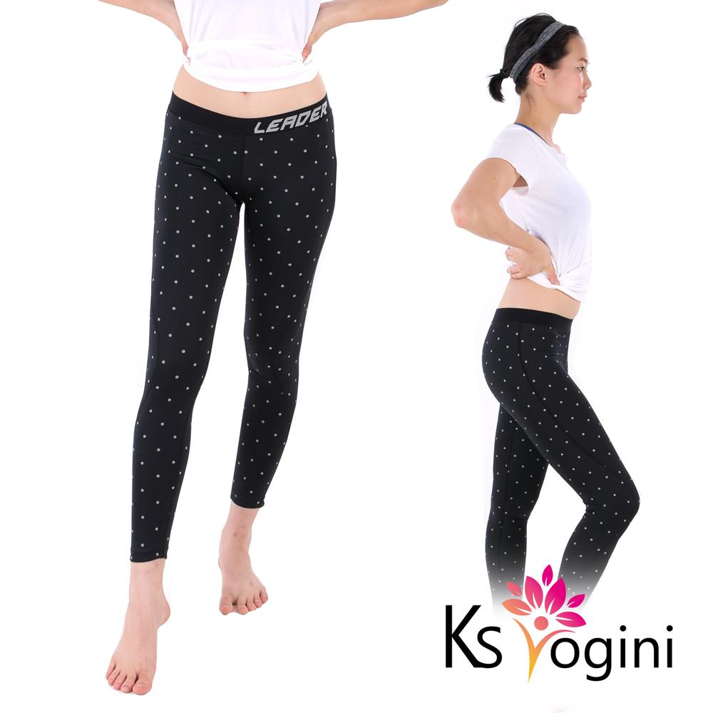 KS yogini 點點反光印 彈力修身運動褲 瑜珈褲 黑底大圓點