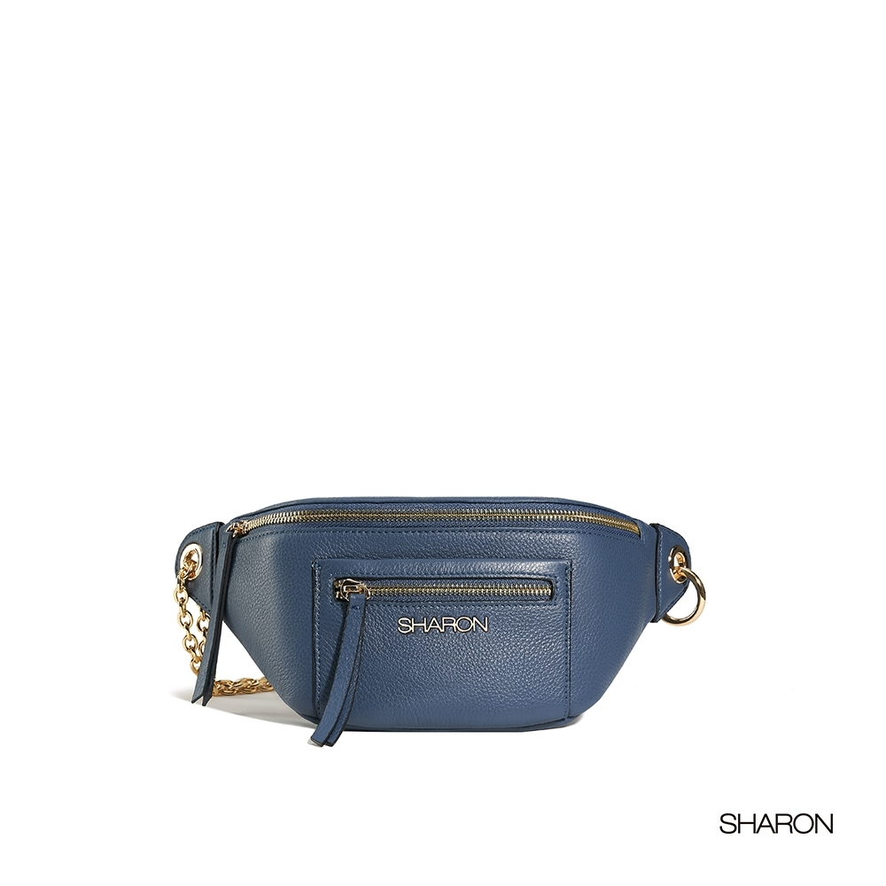 【SHARON 雪恩】頭層牛皮Billie金屬鍊腰包(藍色33038BR)