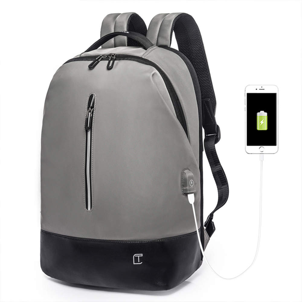 leaper 簡約休閒時尚15.6吋防潑水USB充電後背包 共2色
