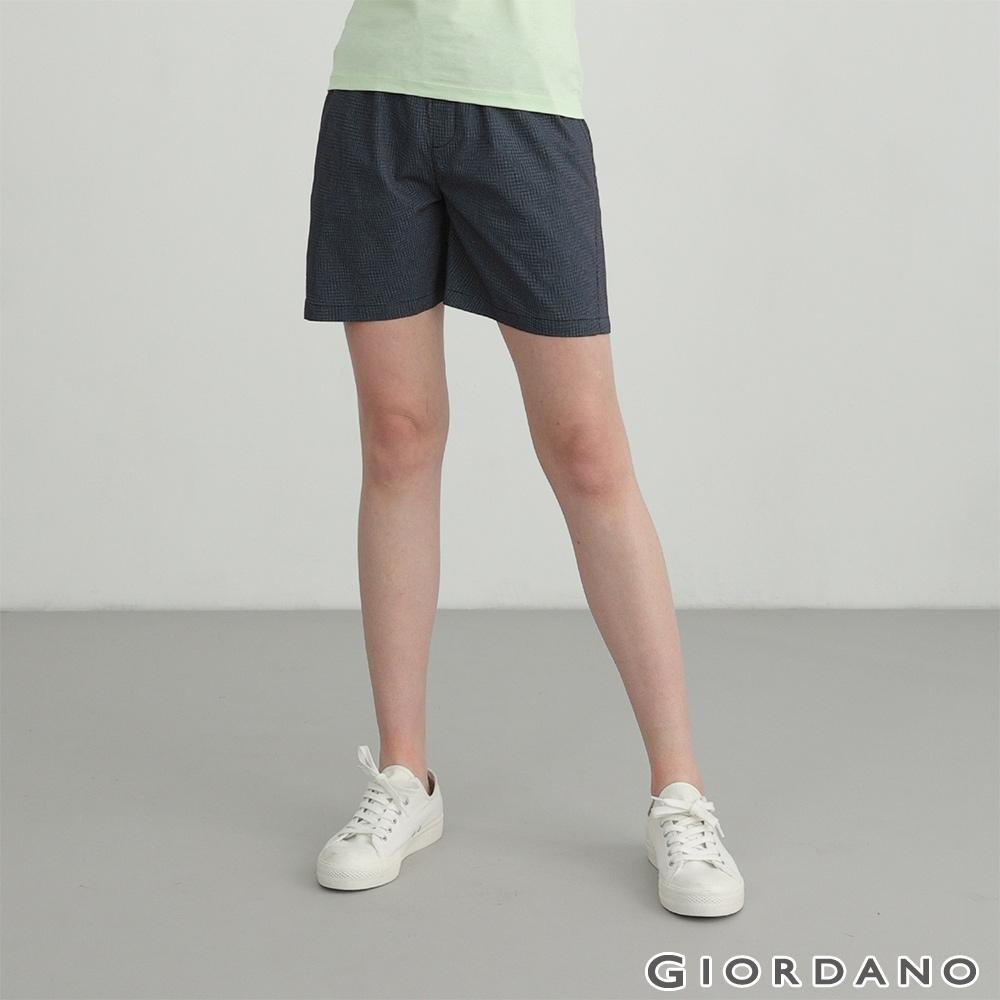 GIORDANO 女裝素色抽繩卡其短褲 - 98 海軍藍X白