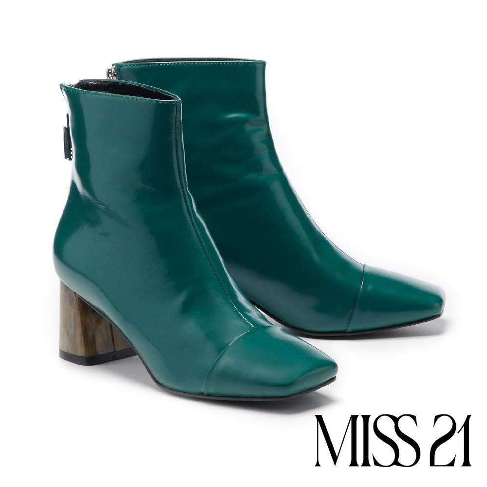 短靴 MISS 21 都市摩登漸層琥珀跟造型方頭粗跟短靴-綠