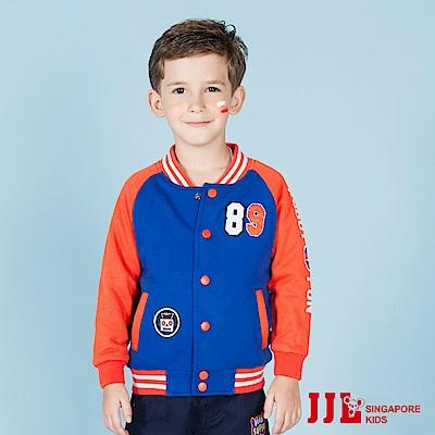 JJLKIDS 街頭拼接數字印花保暖棒球外套(彩藍)