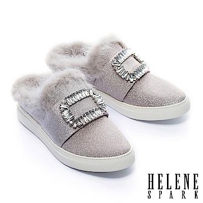 拖鞋 HELENE SPARK 奢華暖意水貂毛方鑽飾全真皮休閒拖鞋-粉