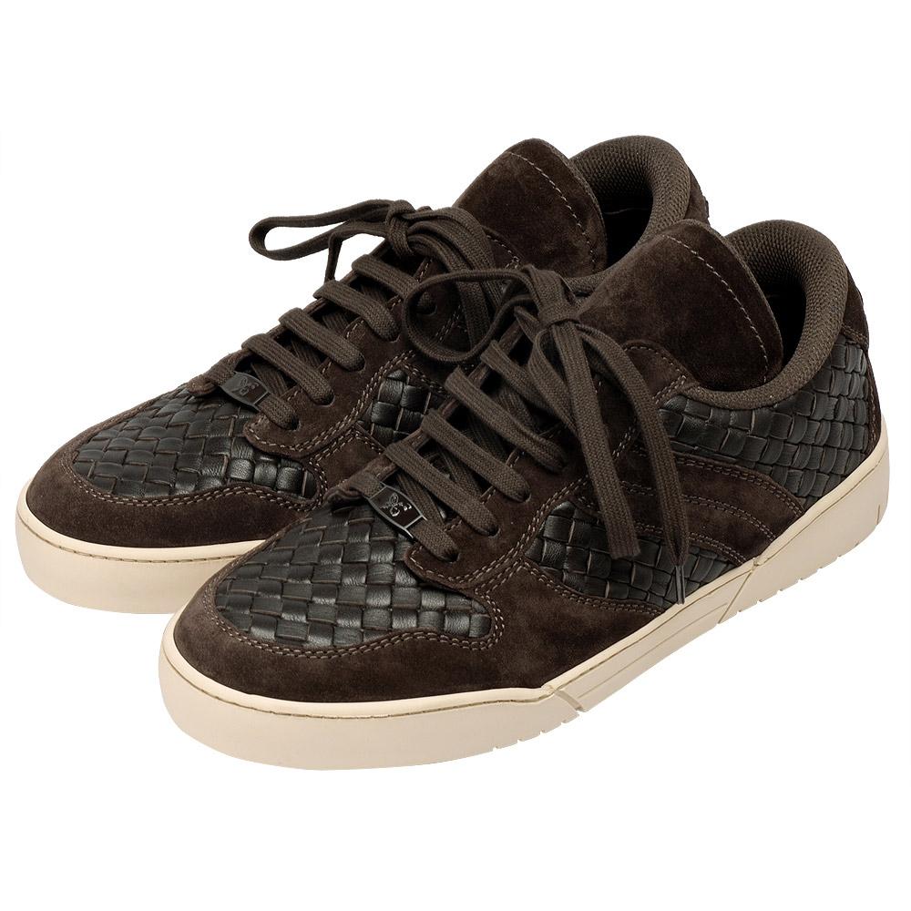 BOTTEGA VENETA經典編織小羊皮X麂皮休閒鞋(深咖啡)