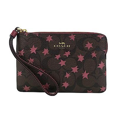 COACH 新款燙印浪漫楓葉PVC拉鍊手拿包(咖啡紅)