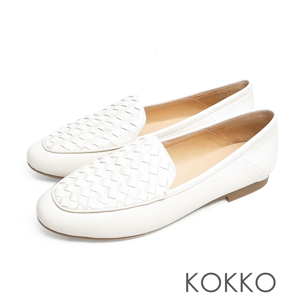 KOKKO無著感編織格紋牛皮彎折懶人平底休閒鞋奶霜白