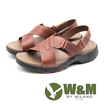 W&M (男)帥性交叉 真皮氣墊感涼鞋-咖