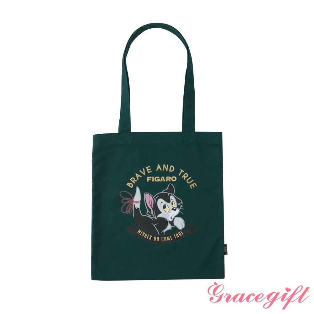 Disney collection by grace gift-小木偶費加洛圖案帆布袋 墨綠