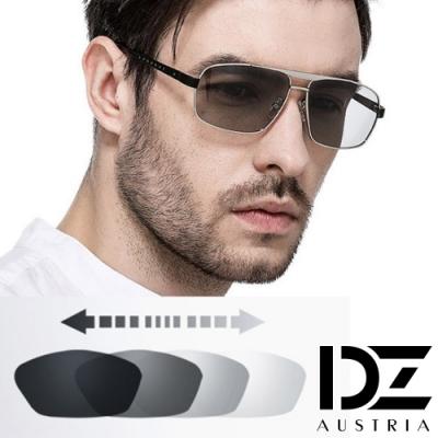 【滿千69折】DZ 科技螺釘變色片 抗UV 防曬偏光太陽眼鏡墨鏡(銀框)