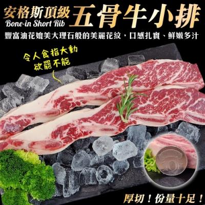 【海陸管家】美國安格斯五骨牛小排5片(每片約250g)